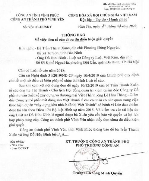 vinh phuc lieu co to chuc ca nhan chong lung cho viec lua dao tai du an khu nha o do thi viet thanh
