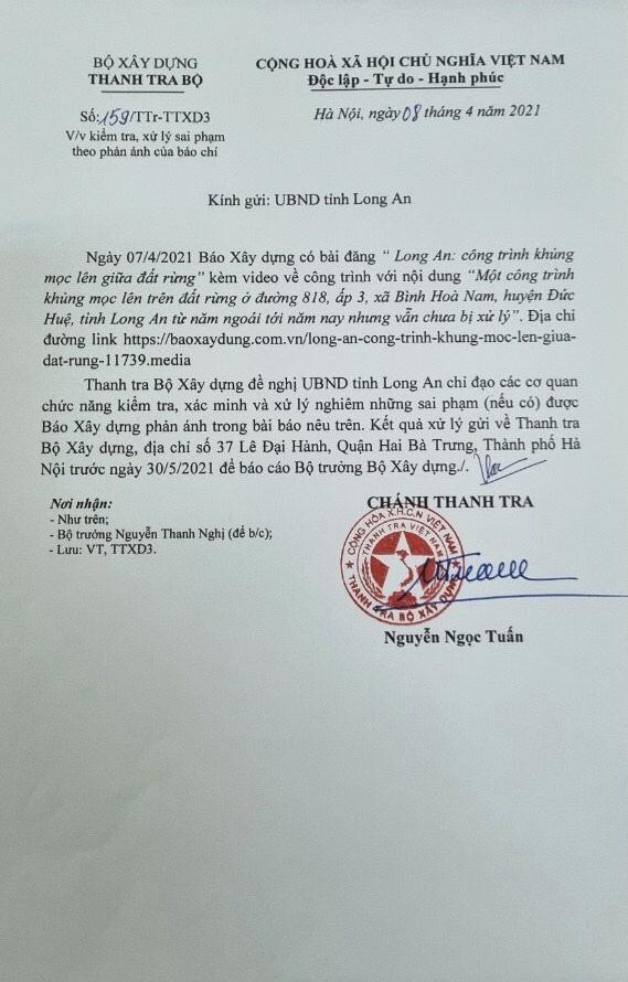 thanh tra bo xay dung de nghi long an xu ly cong trinh khung khong phep