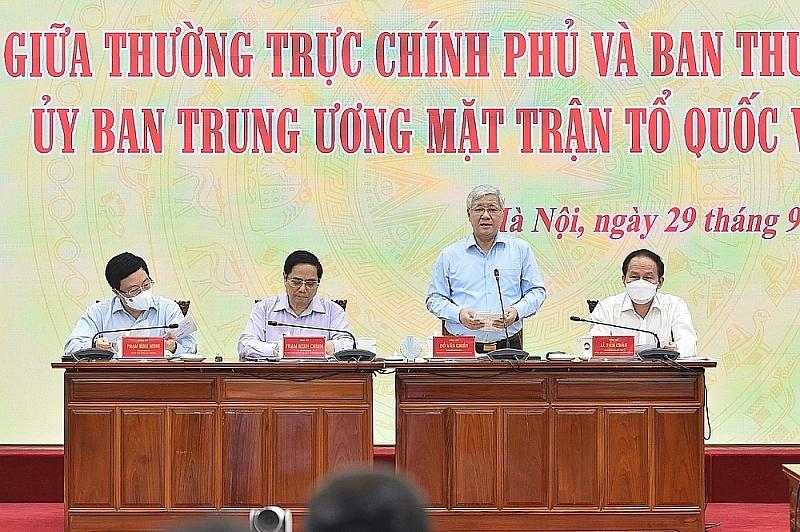 thu tuong pham minh chinh chu tri hoi nghi giua thuong truc chinh phu va uy ban trung uong mttq viet nam